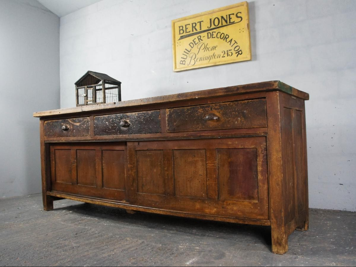19th Century Pine Shop Counter Kitchen Island