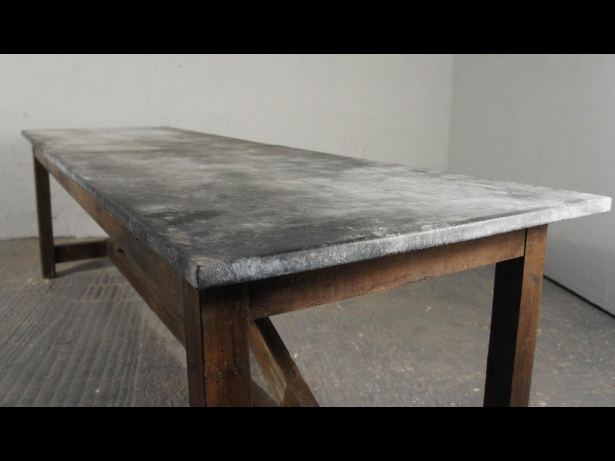 vintage industrial kitchen island dining table modern rustic zinc workbench pine interior design. Black Bedroom Furniture Sets. Home Design Ideas