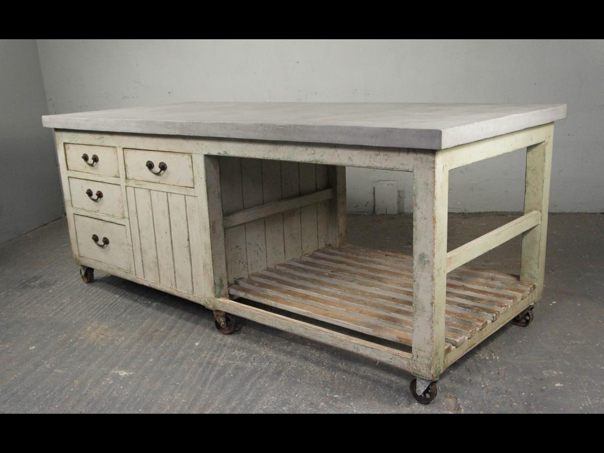 20th Century Industrial Antique Pine Workbench Kitchen Island Shop Counter