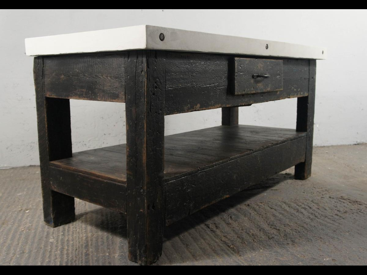 Vintage Industrial Workbench Kitchen Island Sideboard Concrete Cement Resin Top