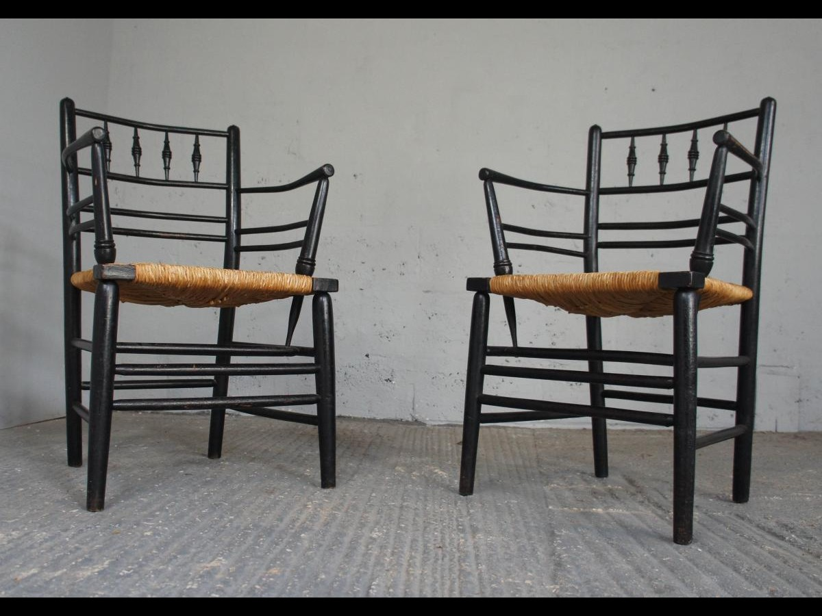 19th Century Pair of William Morris Sussex Armchairs with Rush Seat