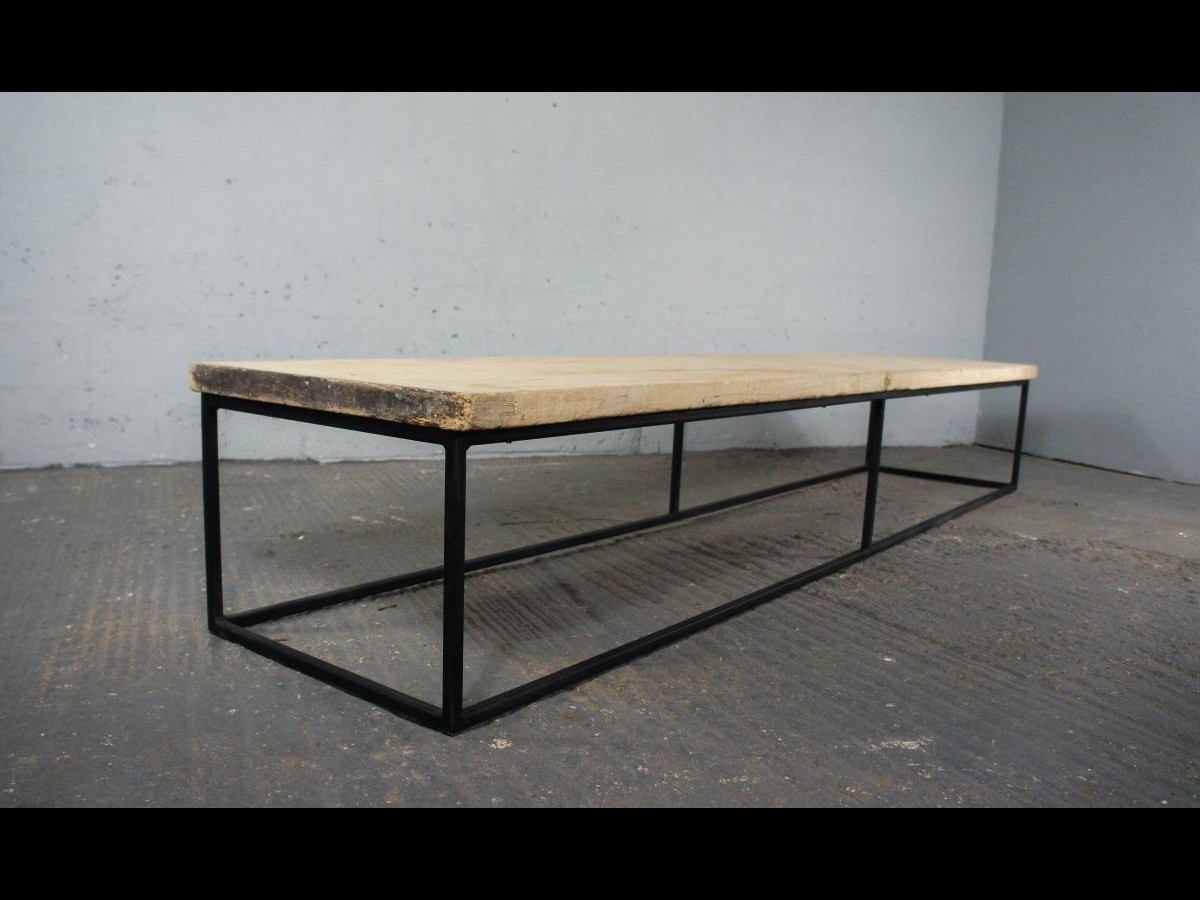 19th Century Sycamore Top on Bespoke Metal Frame Coffee Table