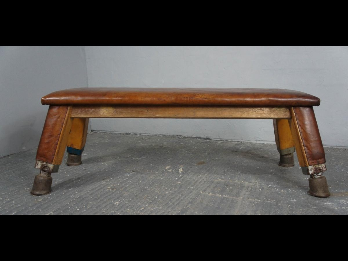 Mid-Century  Vintage Leather Gym Bench 1