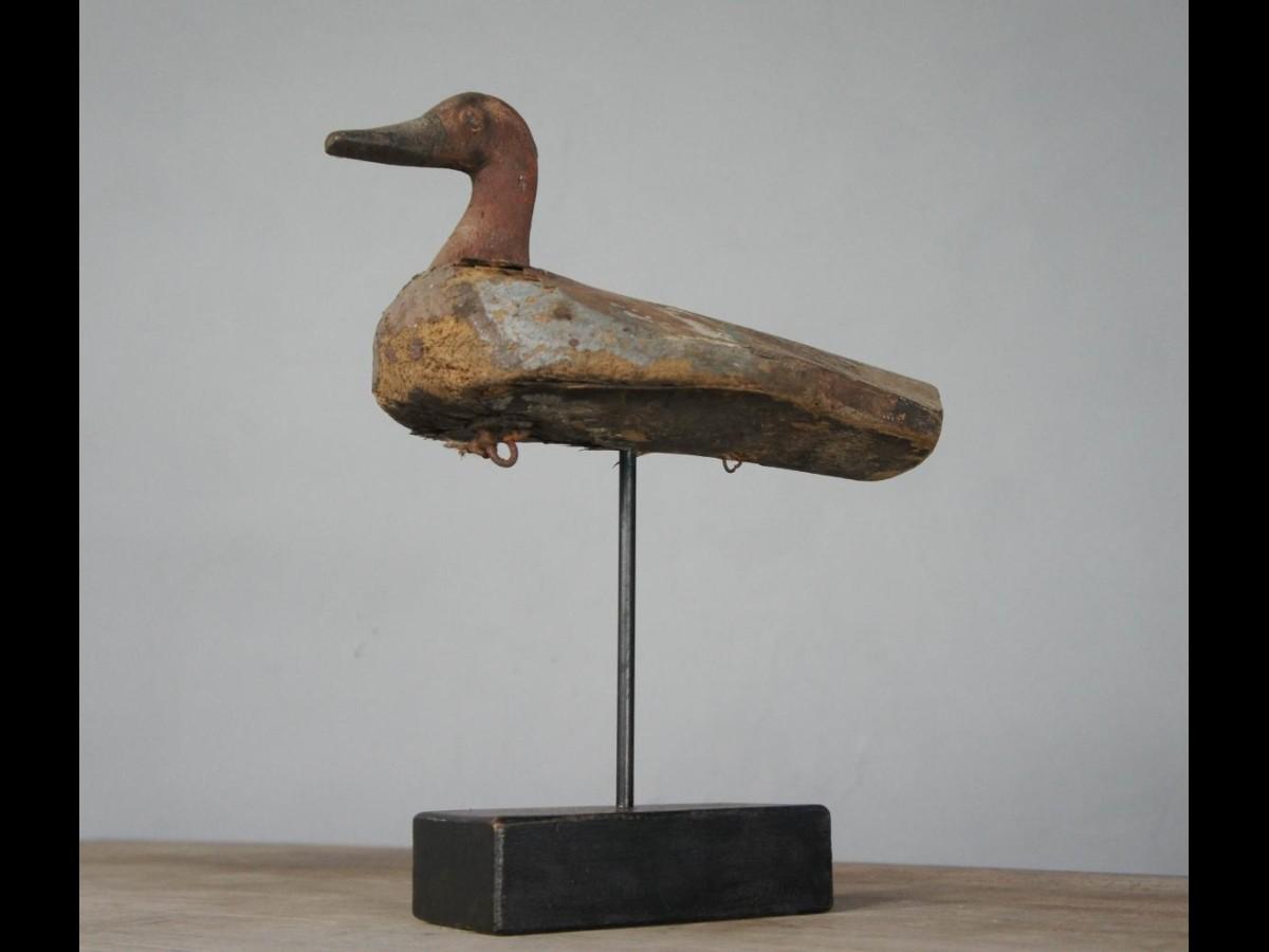 Folk Art Wooden Decoy Duck on Stand