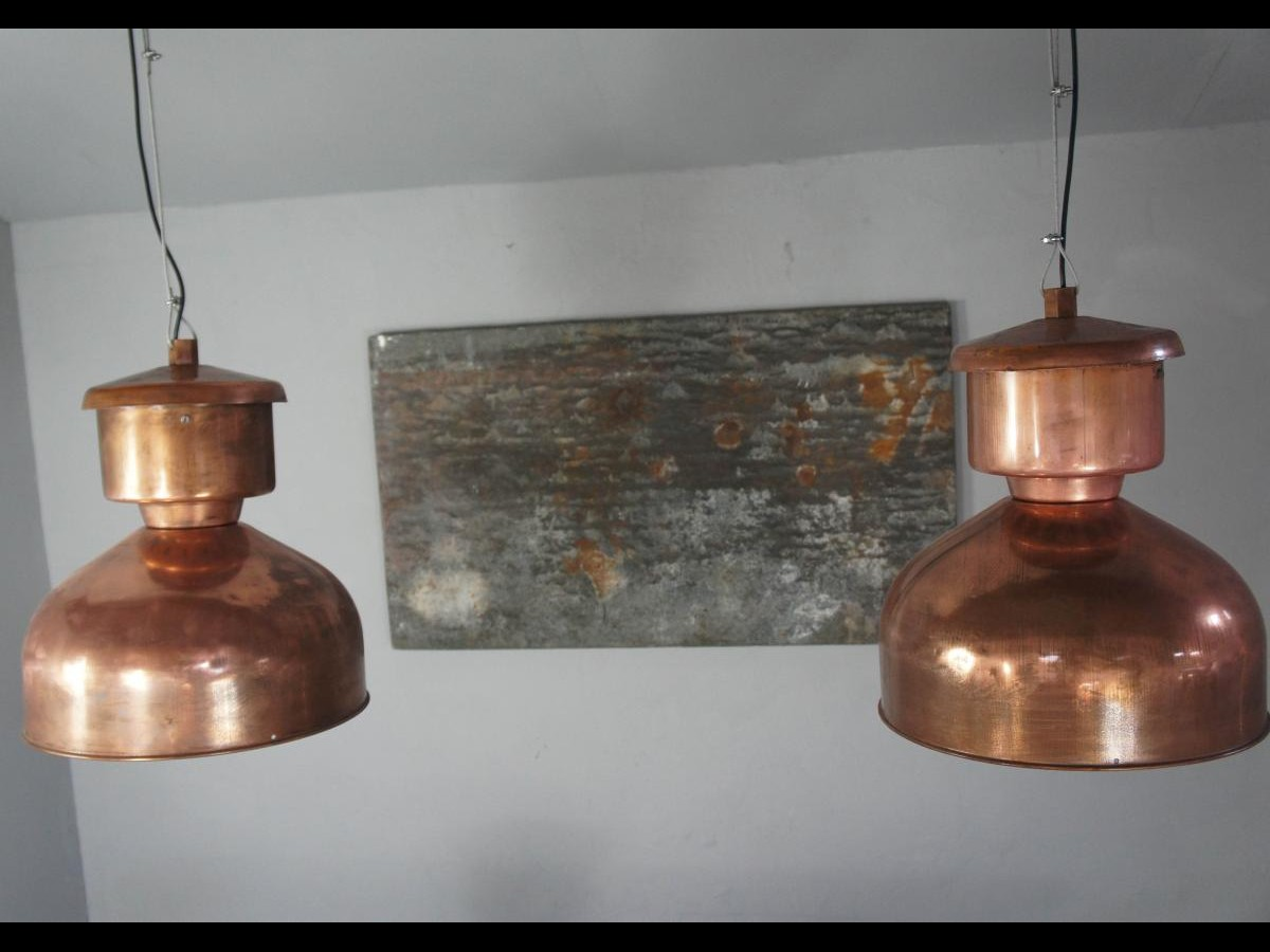 Pair of Large Copper Pendant Factory Lights