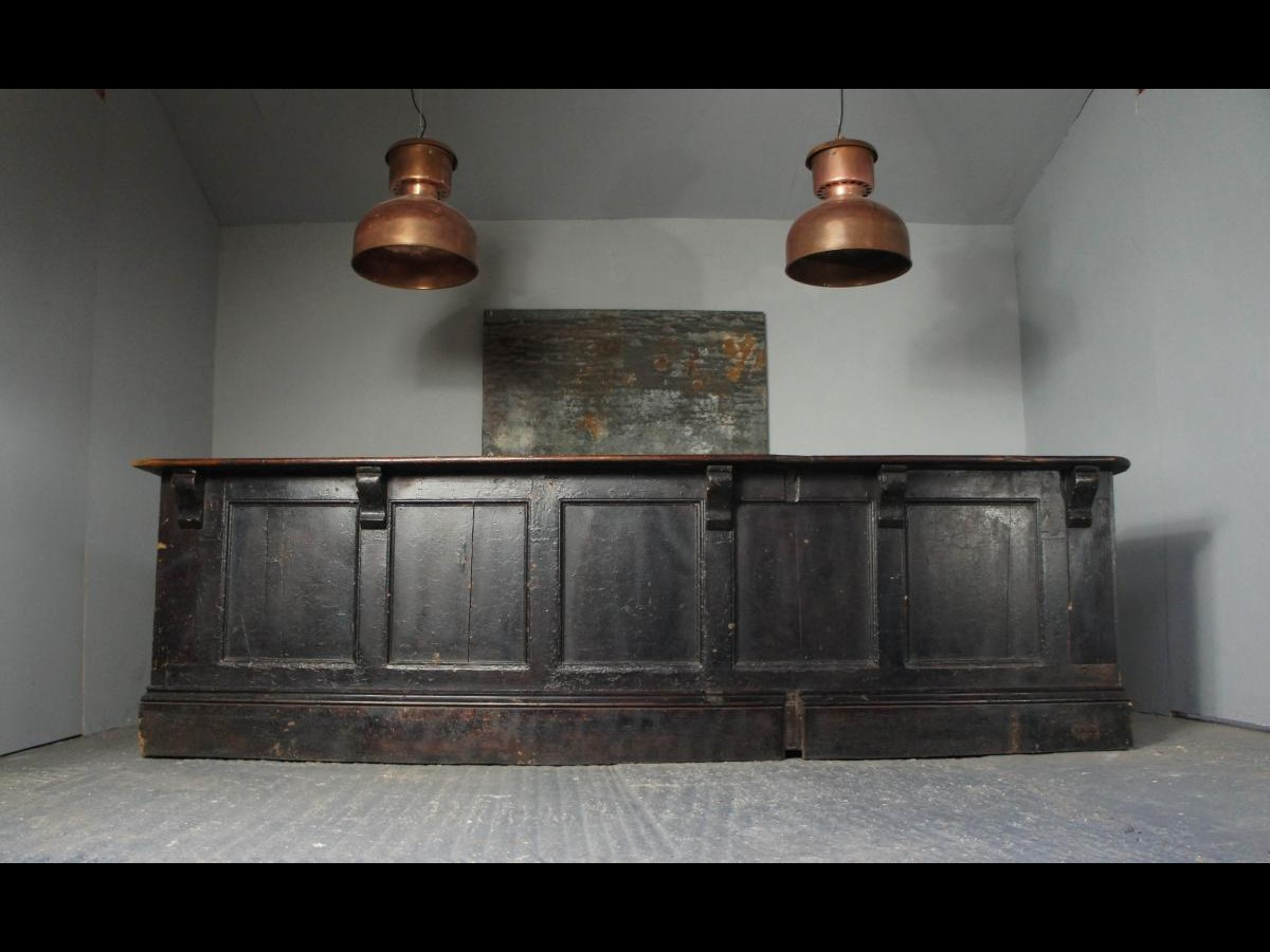 Victorian Ebonized Pine Shop Counter Kitchen Island