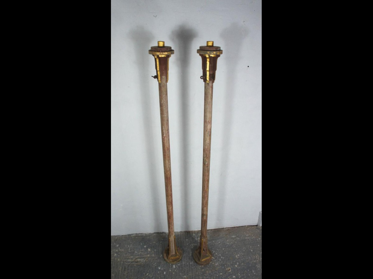 Pair Of Large Irish Wooden Church Candlesticks Torcheres in Original Paint