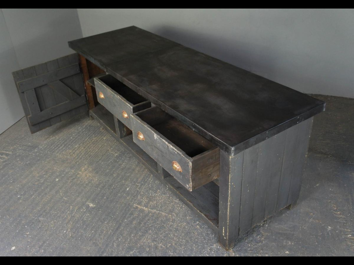 Vintage Industrial Zinc Top Kitchen Table Sideboard