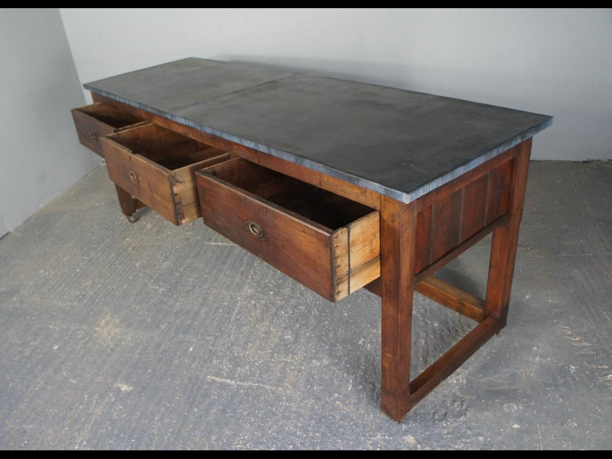 Fabulous Zinc Top Table Sideboard Or Kitchen Island On Casters With