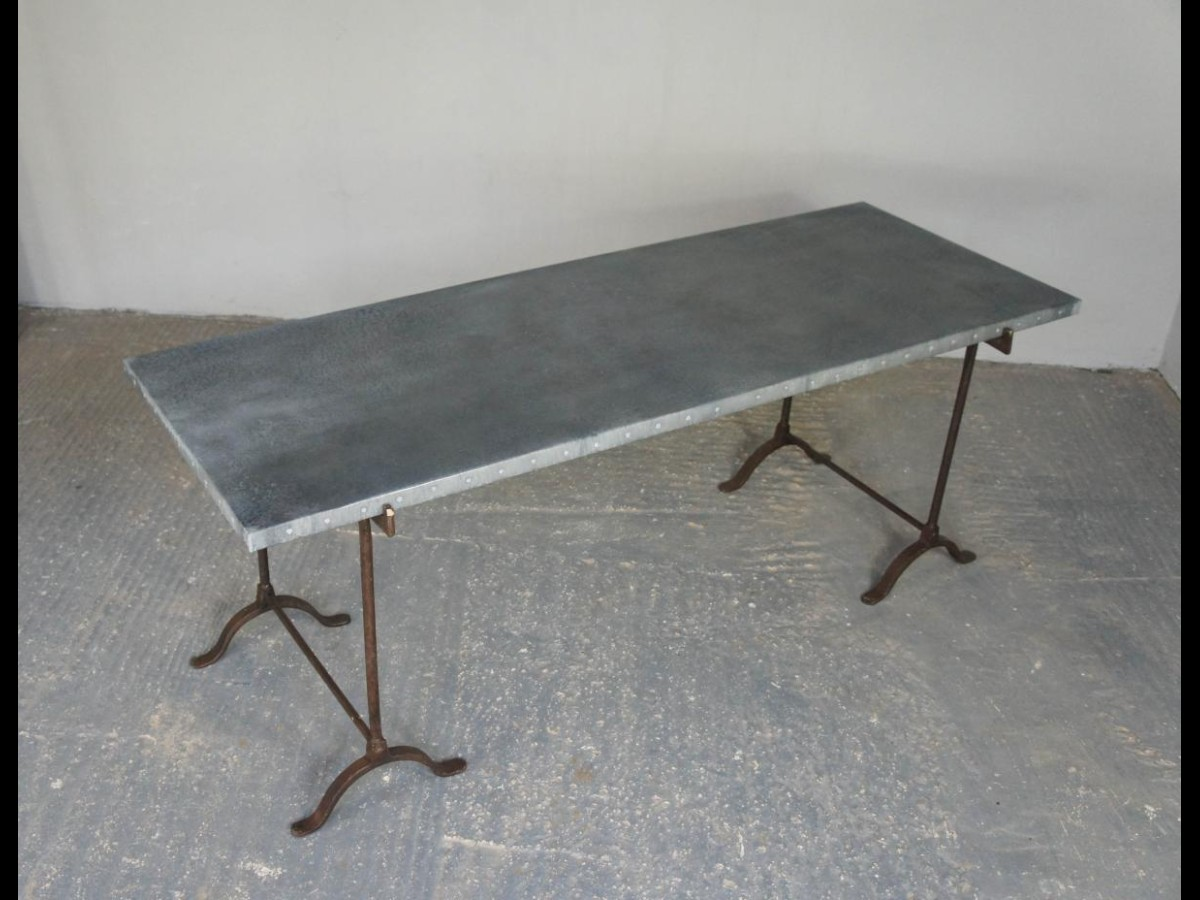 ... Vintage Industrial Zinc Top Dining Table On Wrought Iron Trestle Legs  ...