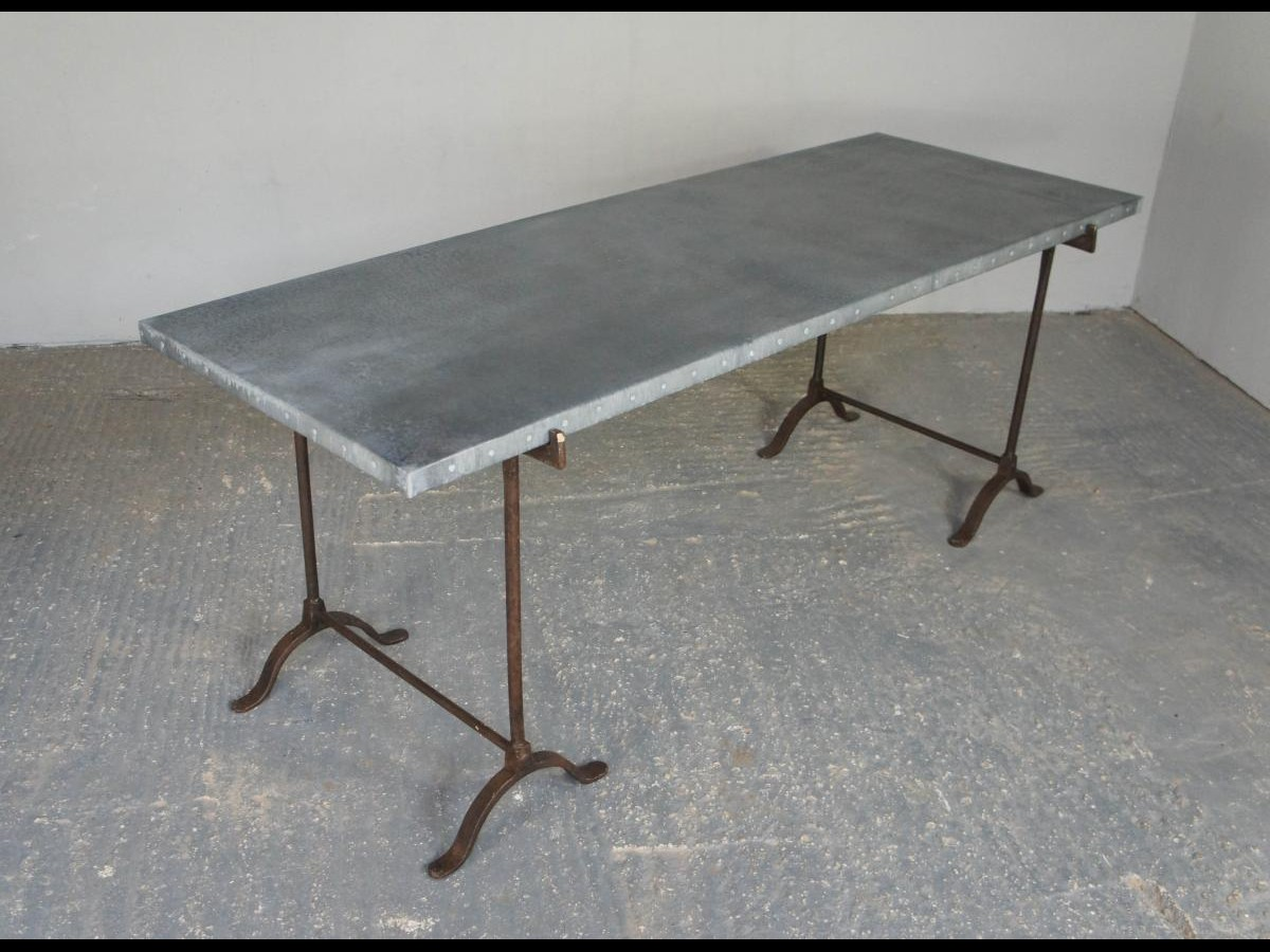 Vintage Industrial Zinc Top Dining Table on Wrought Iron Trestle Legs