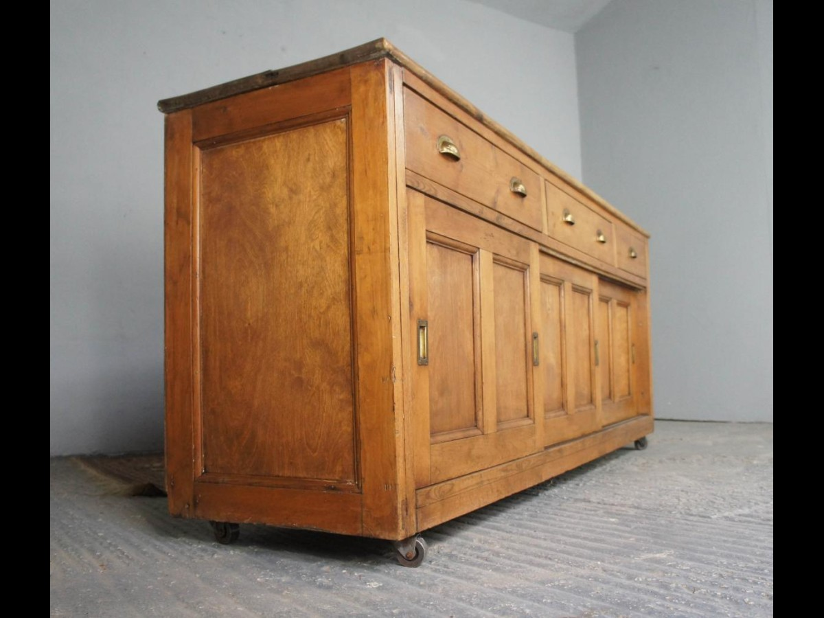 Victorian Pine Dresser Base with Hardwood Top on Casters