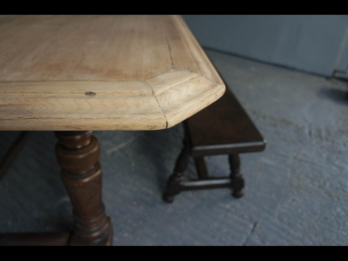 19th Century Large Mahogany Dining Table with Bleached Top