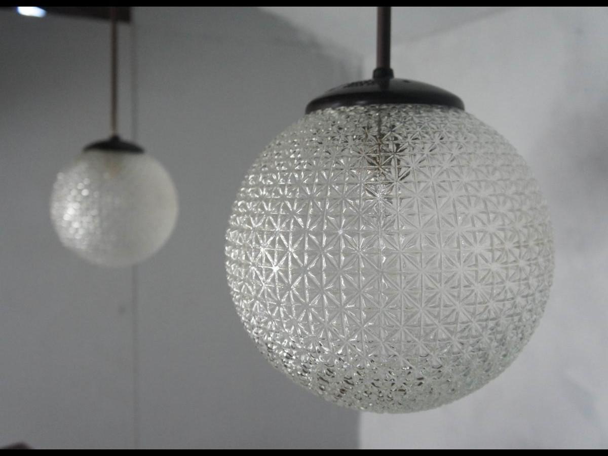 Pair of Midcentury Glass and Bakelite Holophane Globe Pendant Lights