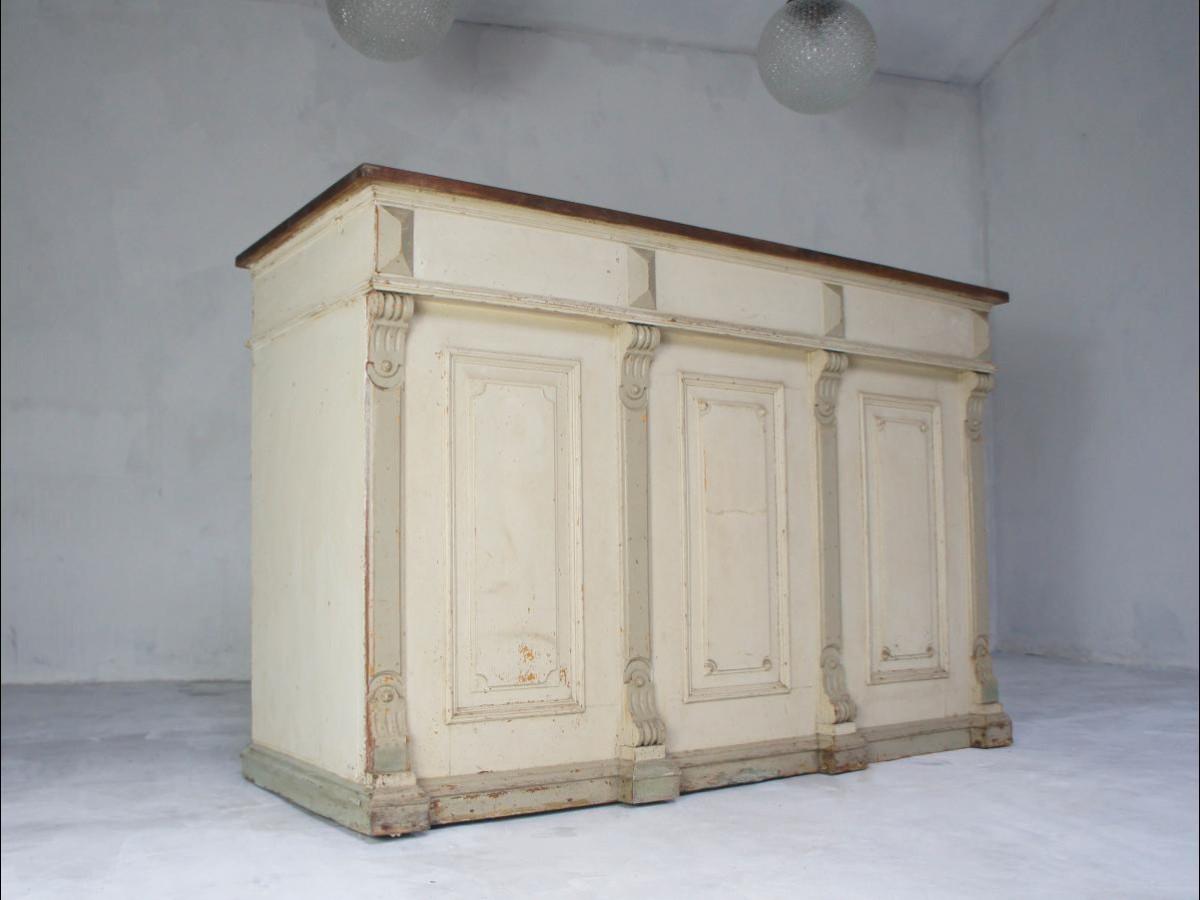 19th Century Pine Shop Counter Waiter Station Kitchen Island Sideboard Desk