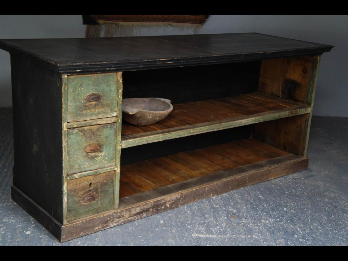 19th Century Upcycled Zinc Top Pine Shop Counter Kitchen Island Waiter Station