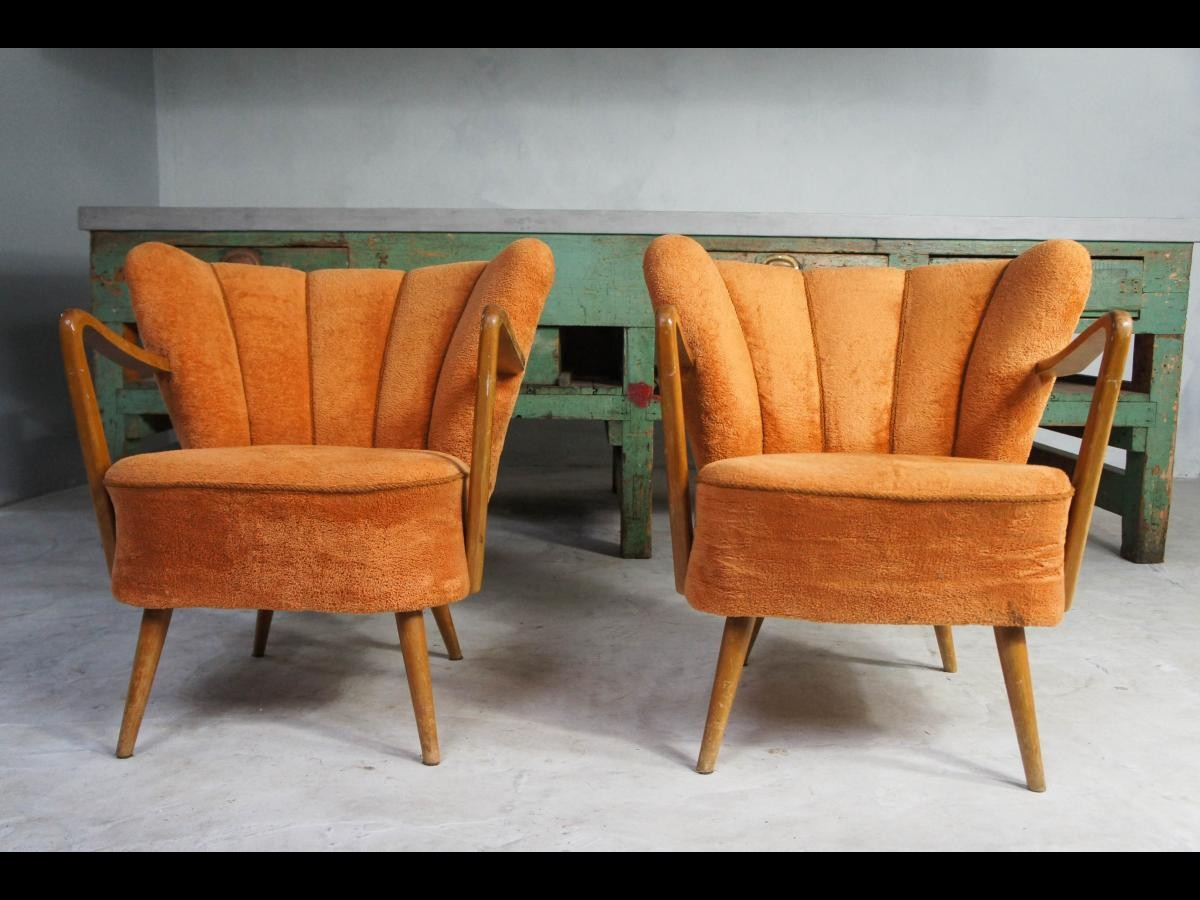 Midcentury Pair of Orange Cocktail Armchairs