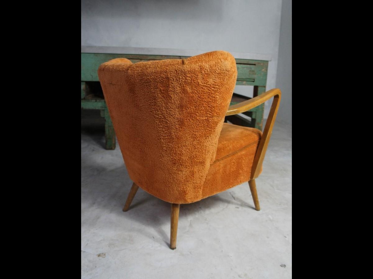 Midcentury Pair of Orange Cocktail Armchairs