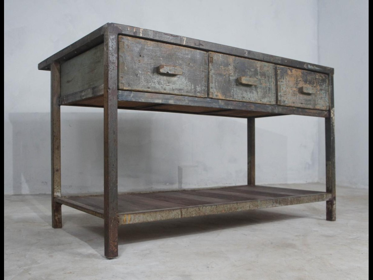 Steel Framed Workbench Kitchen Island with Concrete Style Top