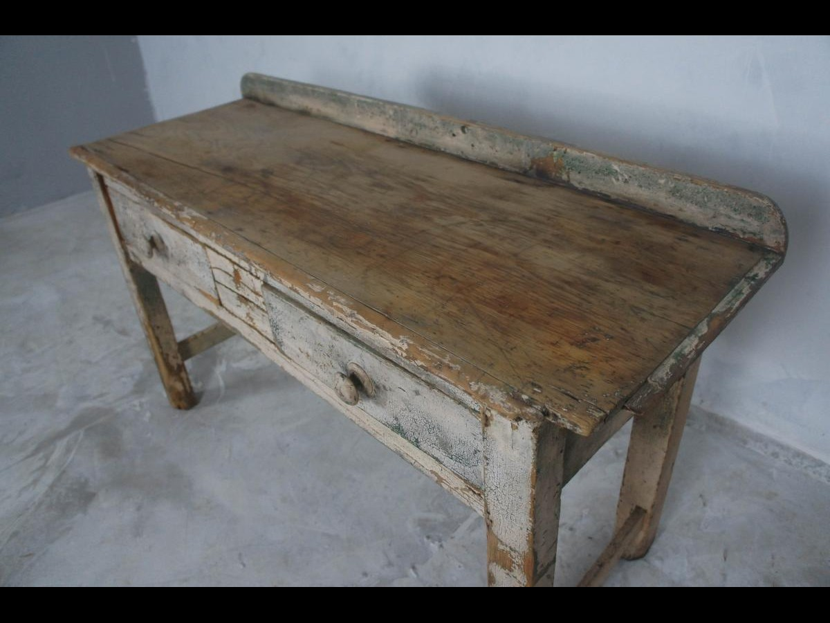 Rustic Farmhouse Side Table in Original Paint