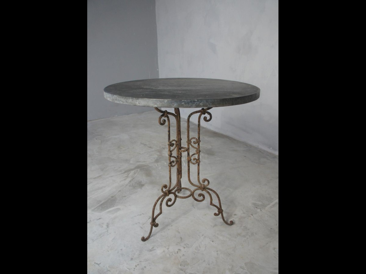 19th Century French Small Wrought Iron Garden Patio Table with  Zinc Top
