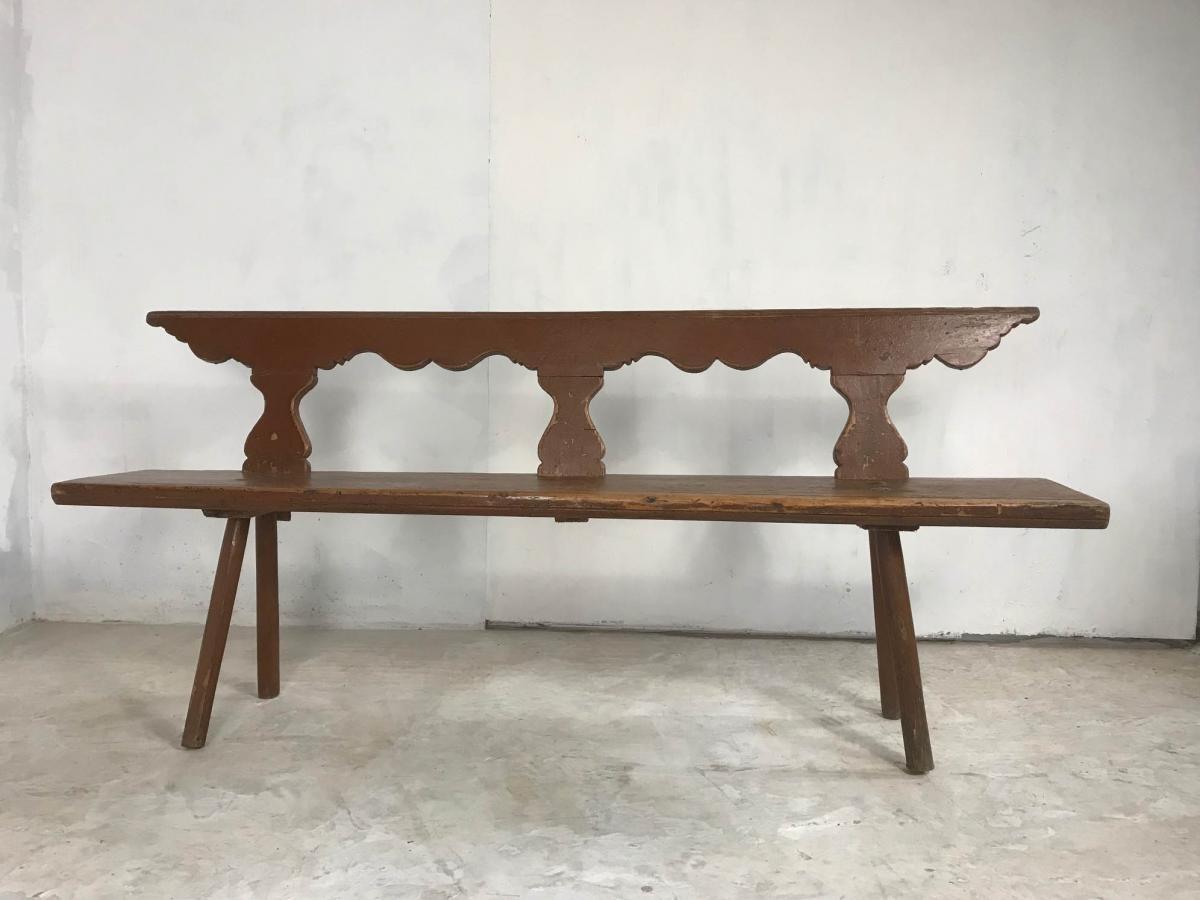 19th Century Pine Bench in Original Paint