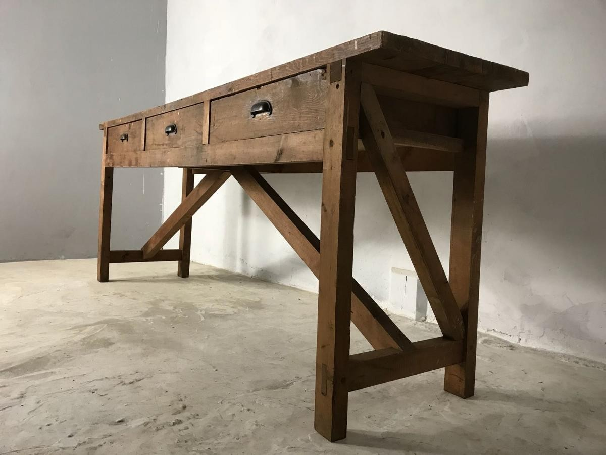 20th Century Vintage Industrial Workbench, Worktable, Kitchen Island, Sideboard
