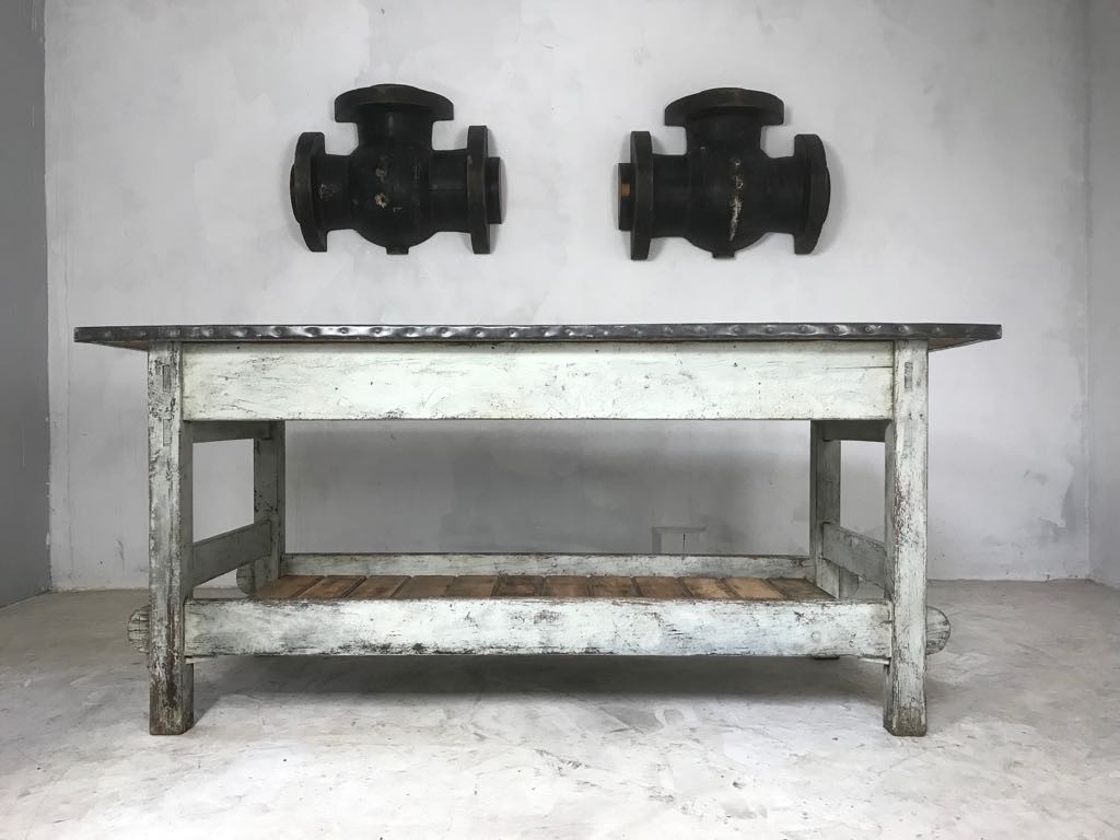 Vintage Industrial Zinc Top Work Table Kitchen Island Sideboard Potting Table
