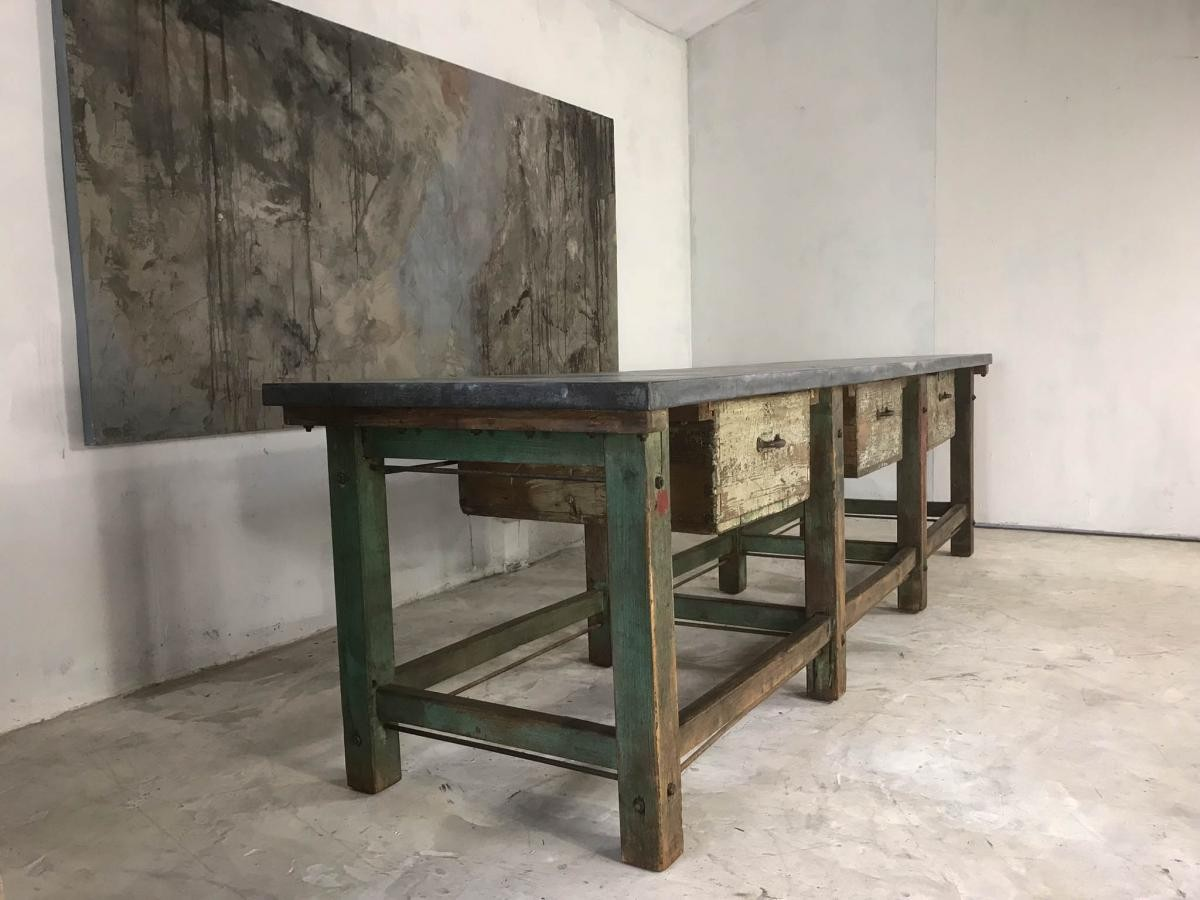 20th Century Vintage Industrial Workbench Kitchen Island Loft Warehouse Zinc Top