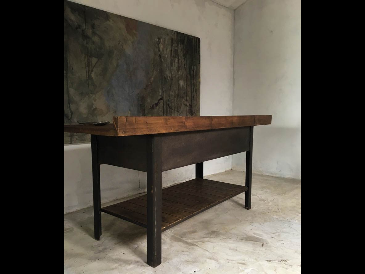 20th Century Steel Workbench Kitchen Island Pine Top