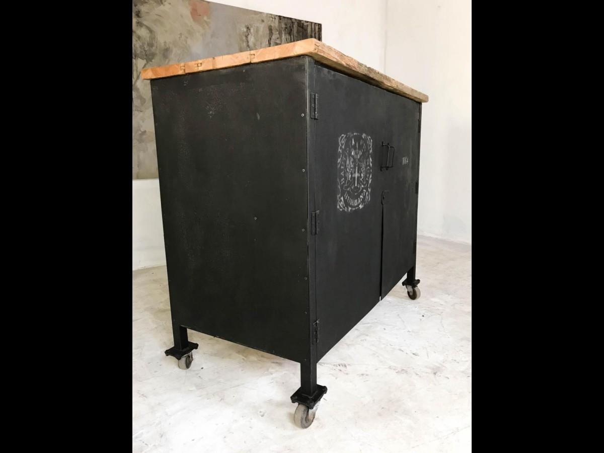 21st Century Vintage Industrial Steel Cabinet Locker Pine Top