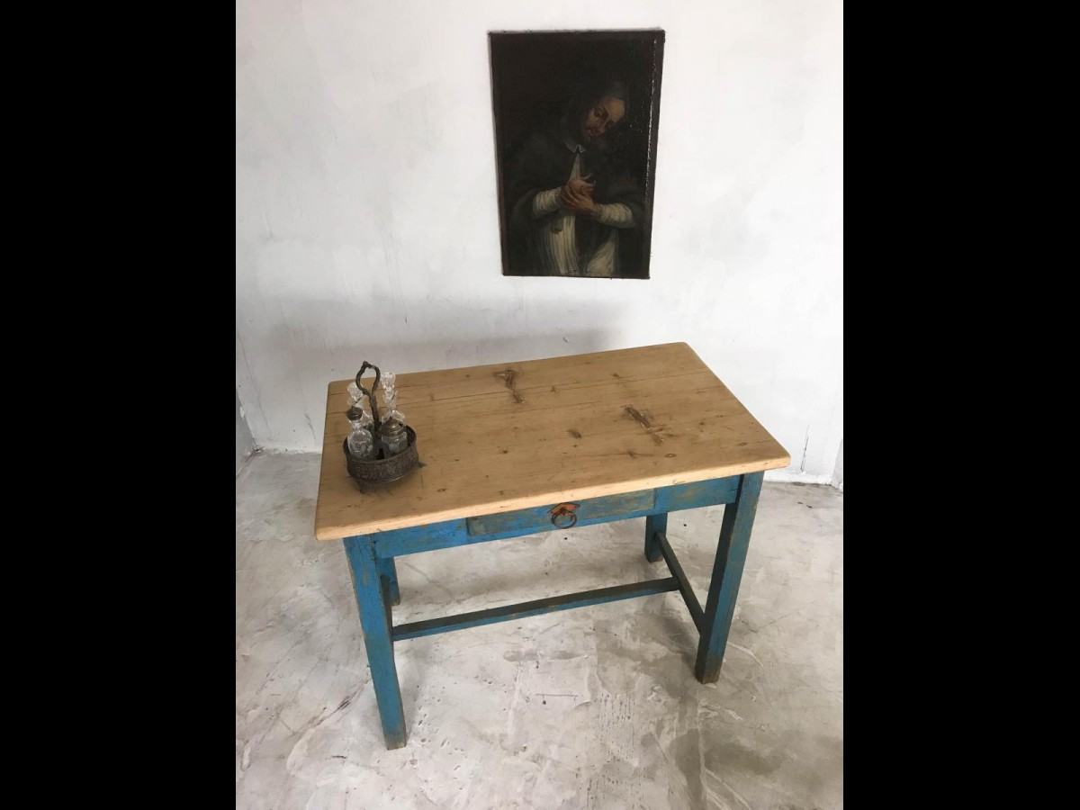 20th Century Rustic Pine Painted Side Table Occasional Table