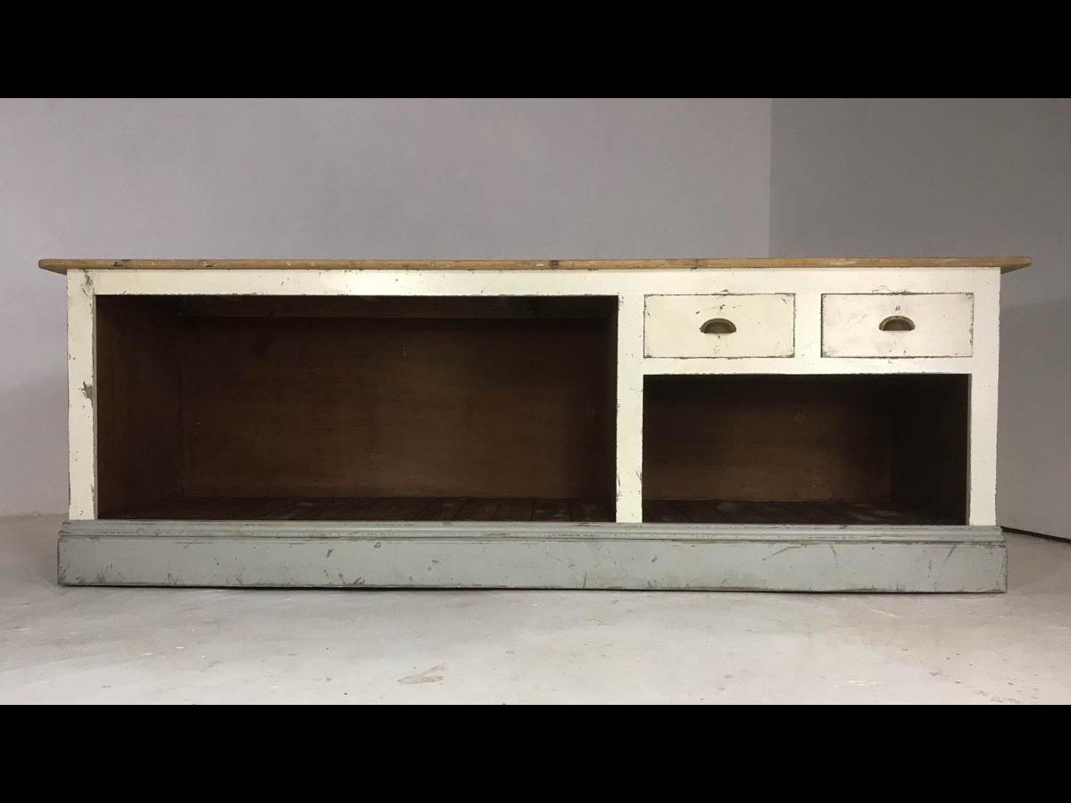 Vintage Style Painted Pine Shop Counter/ Kitchen Island