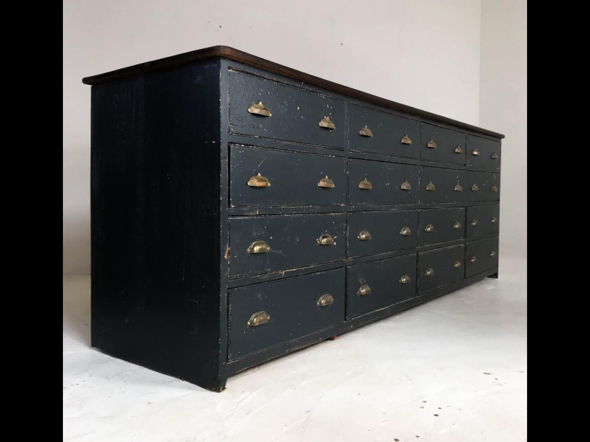 20th Century Antique Pine Black Bank of Drawers Sideboard Haberdashery