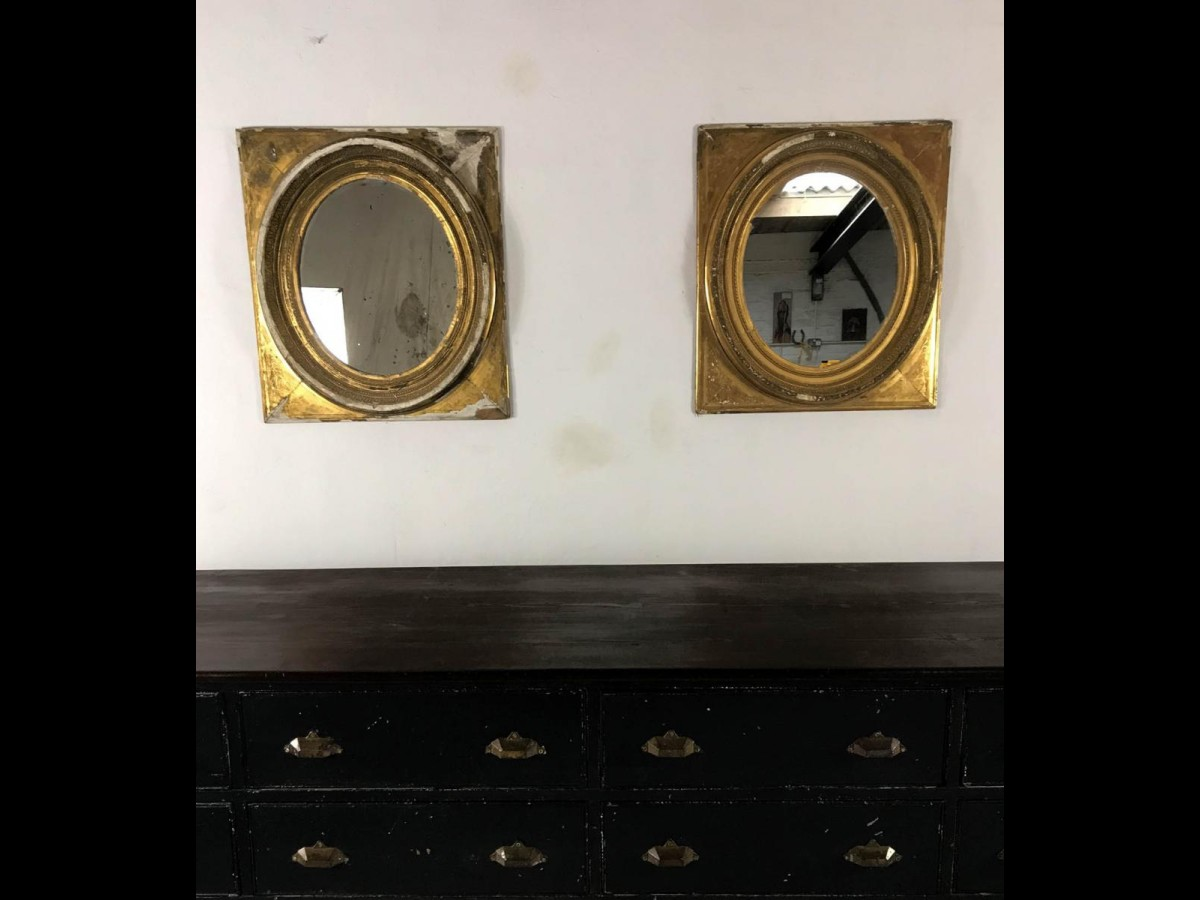 19th Century Gilt and Gesso Pair of French Oval Mirrors