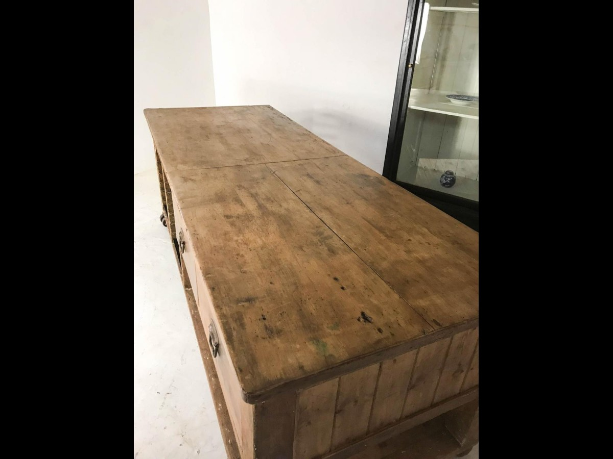 Vintage Industrial Pine Sycamore Workbench Baker's Table Work Table
