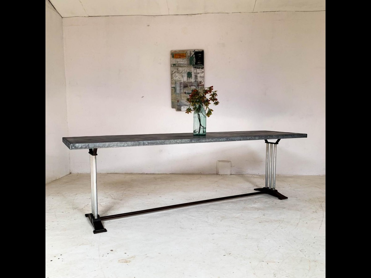 Mid 20th Century Art Deco French Restaurant Zinc Dining Table
