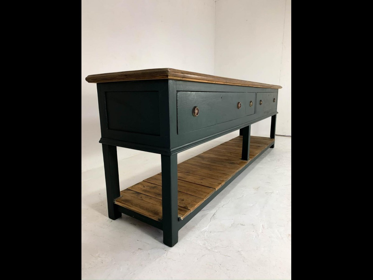 Restored Victorian English Pine Painted Sideboard Dresser Base