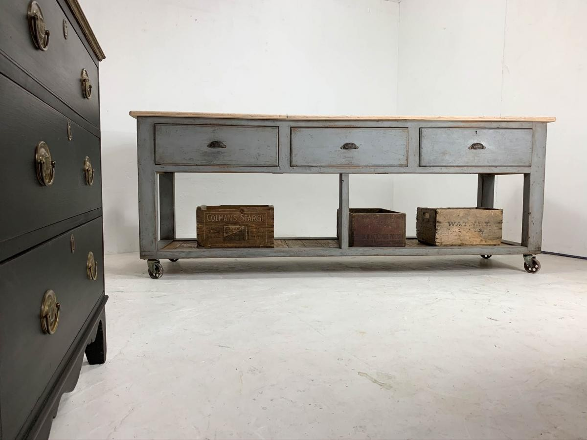 Vintage Industrial Workbench Kitchen Island