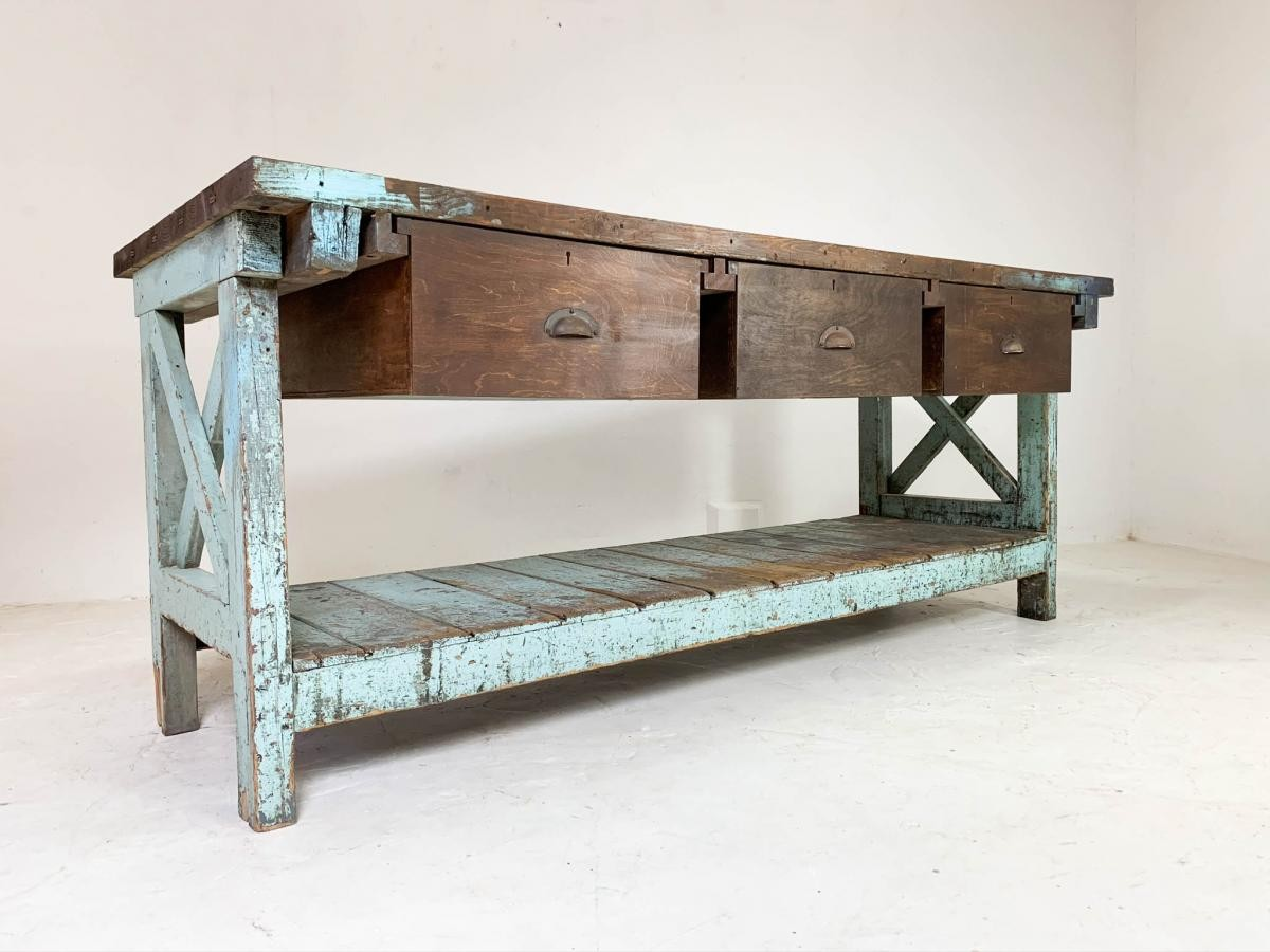 20th Century Vintage Industrial Workbench Work Table Kitchen Island Sideboard