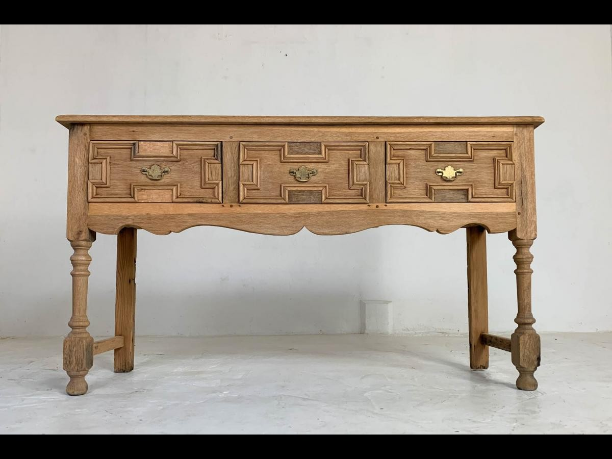 Early 20th Century English Bleached Oak Dresser Base Sideboard