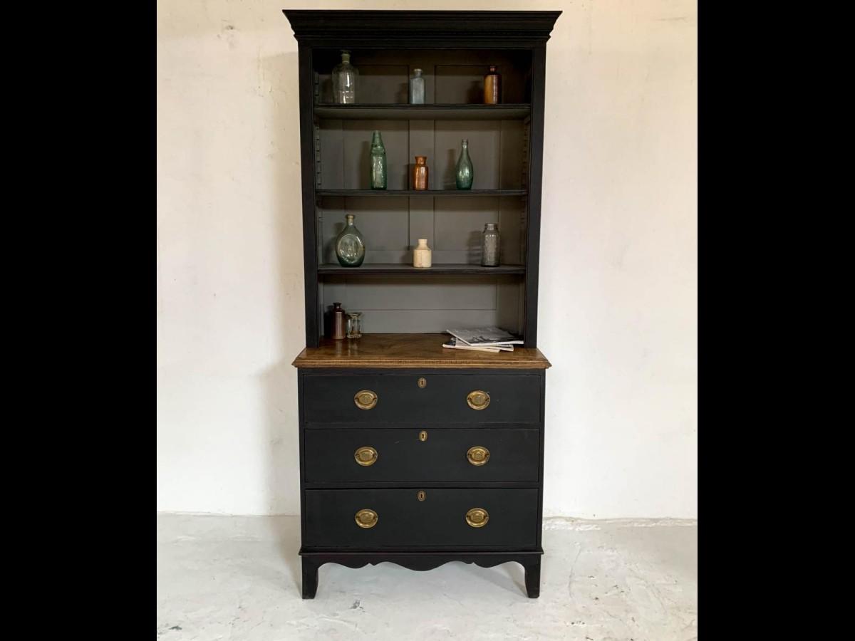 Antique Pine Bookcase Dresser