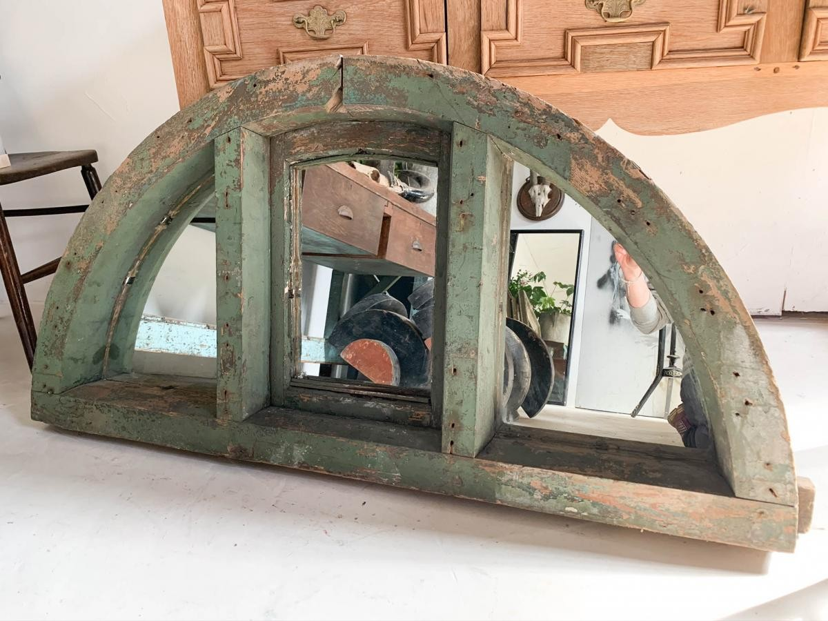 Architectural Green Wooden Mirror