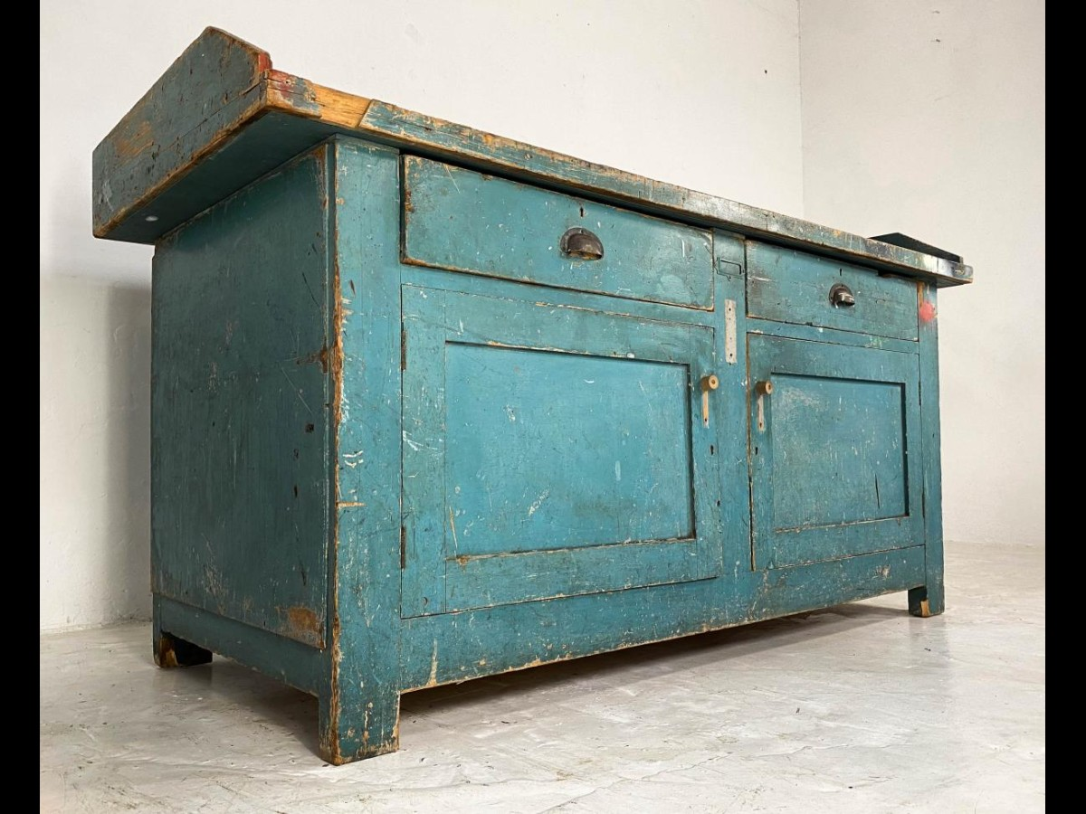 Vintage Industrial Workbench Kitchen Island with Zinc Top