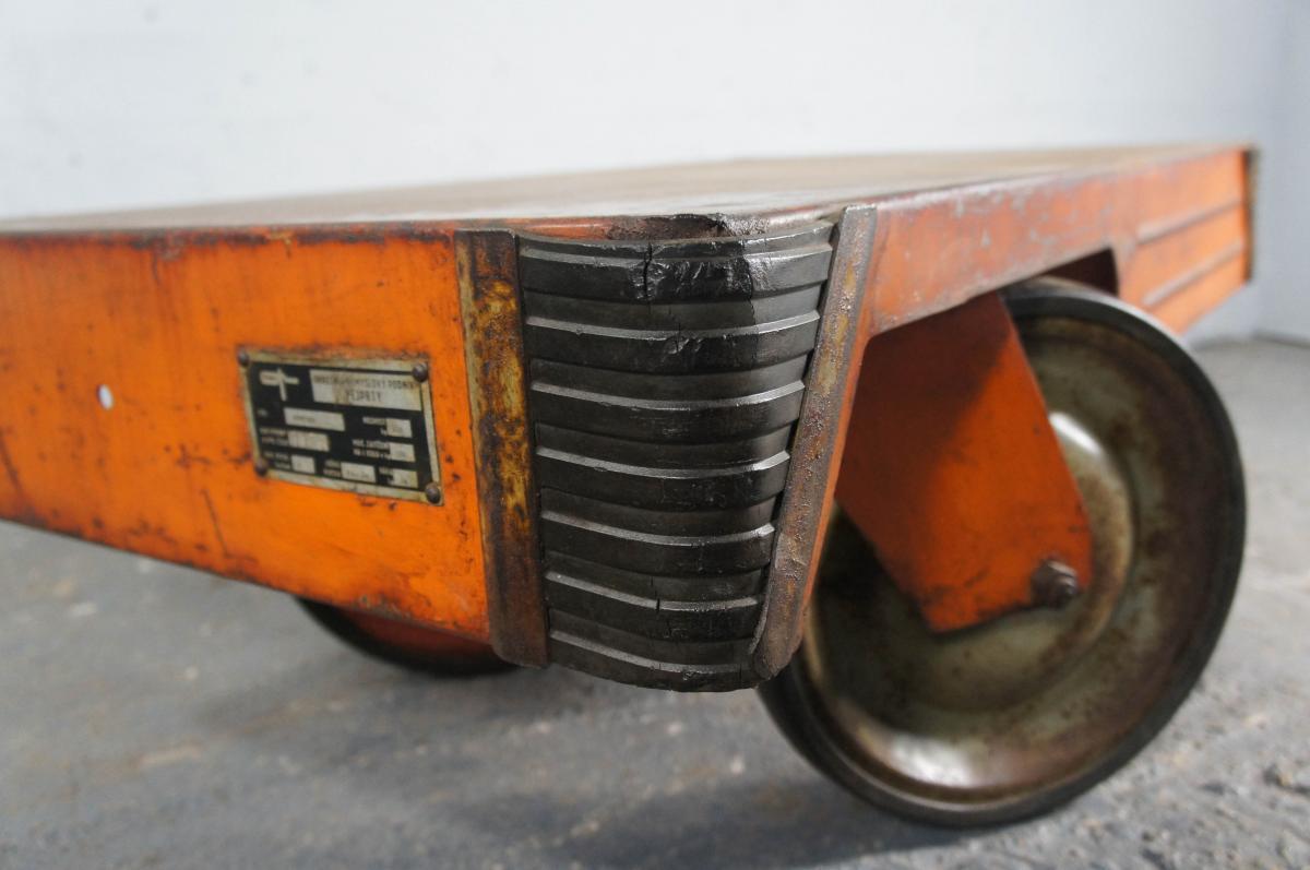 21st Century Orange Steel Coffee Table Industrial Trolley