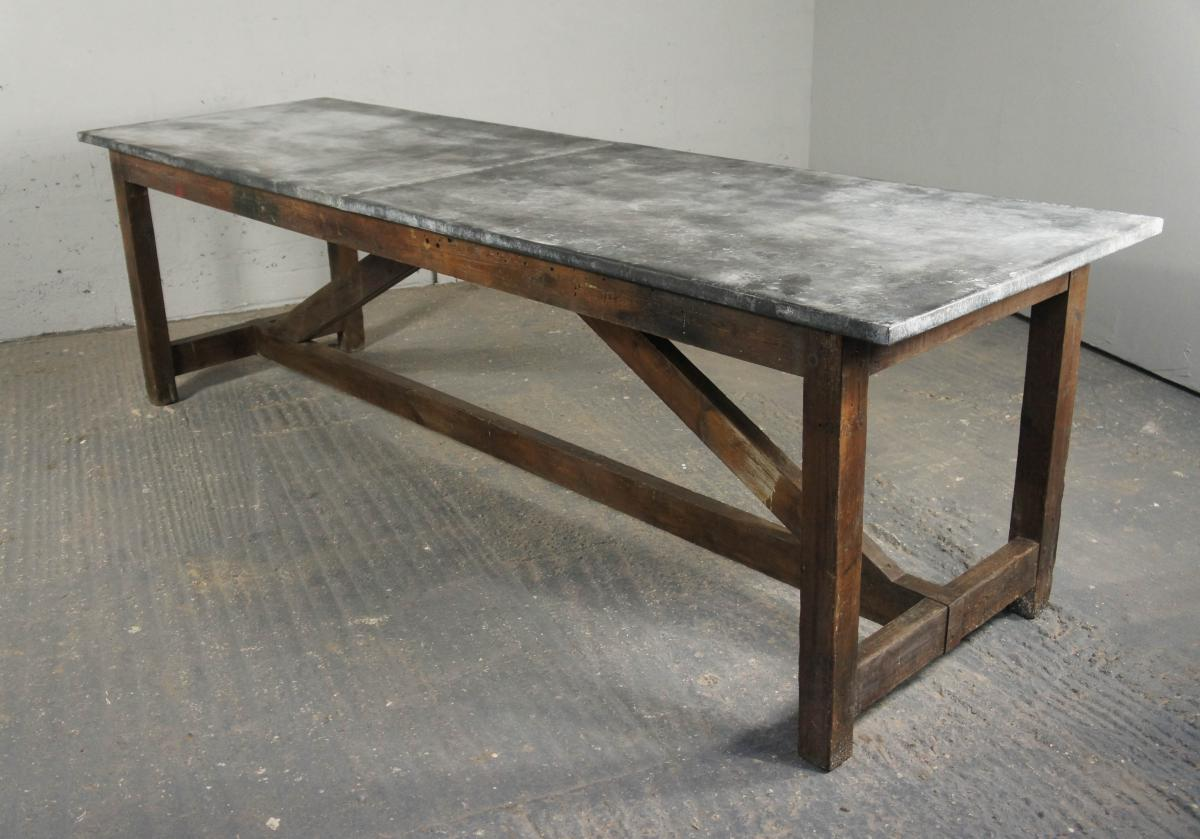 Vintage Industrial Kitchen Island Dining Table Modern Rustic Zinc - Zinc top dining table
