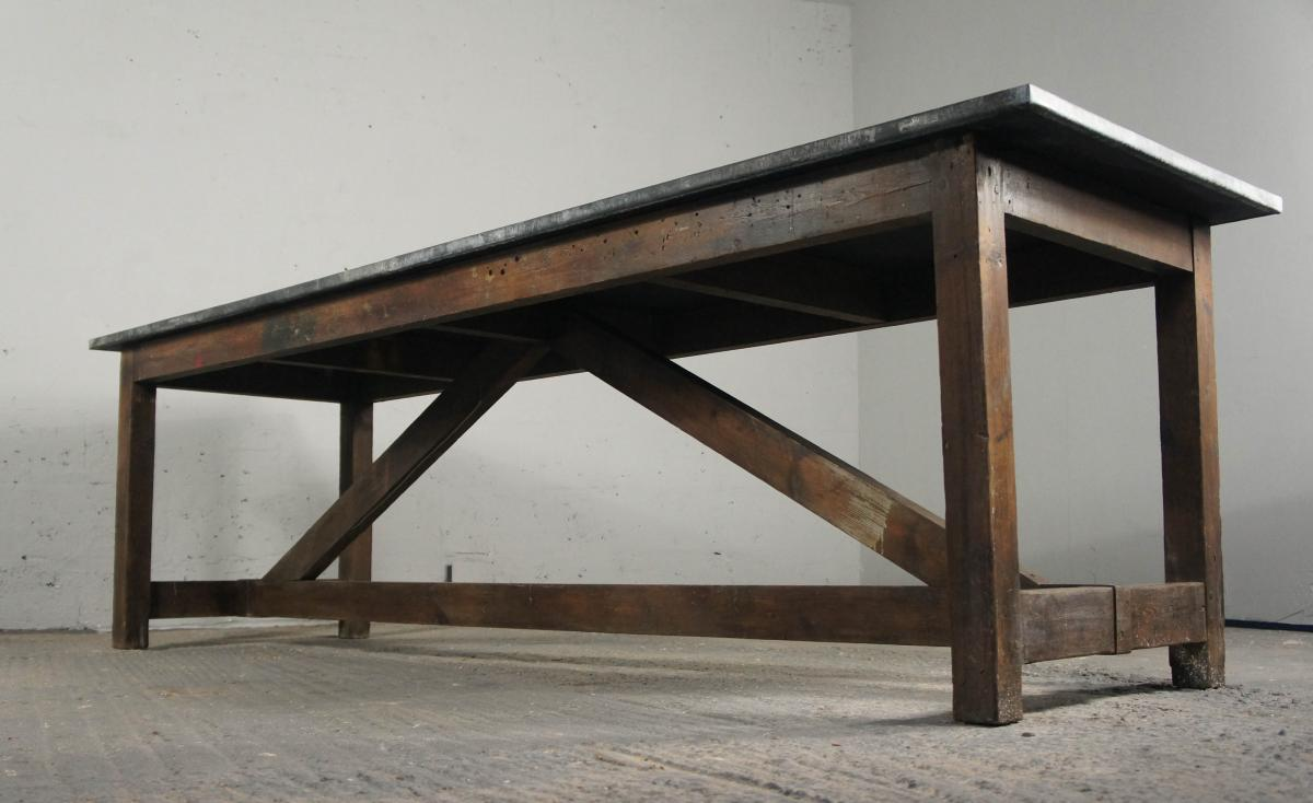 Vintage Industrial Kitchen Island Dining Table Modern Rustic Zinc