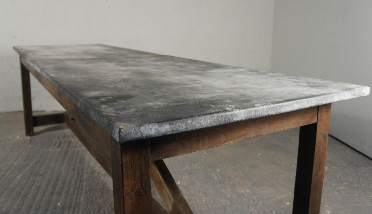 Industrial Pine and Zinc Top Dining Table/ Kitchen Island