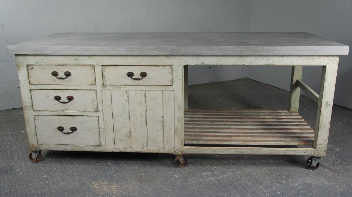 20th Century Industrial Antique Pine Workbench Kitchen Island Shop Counter