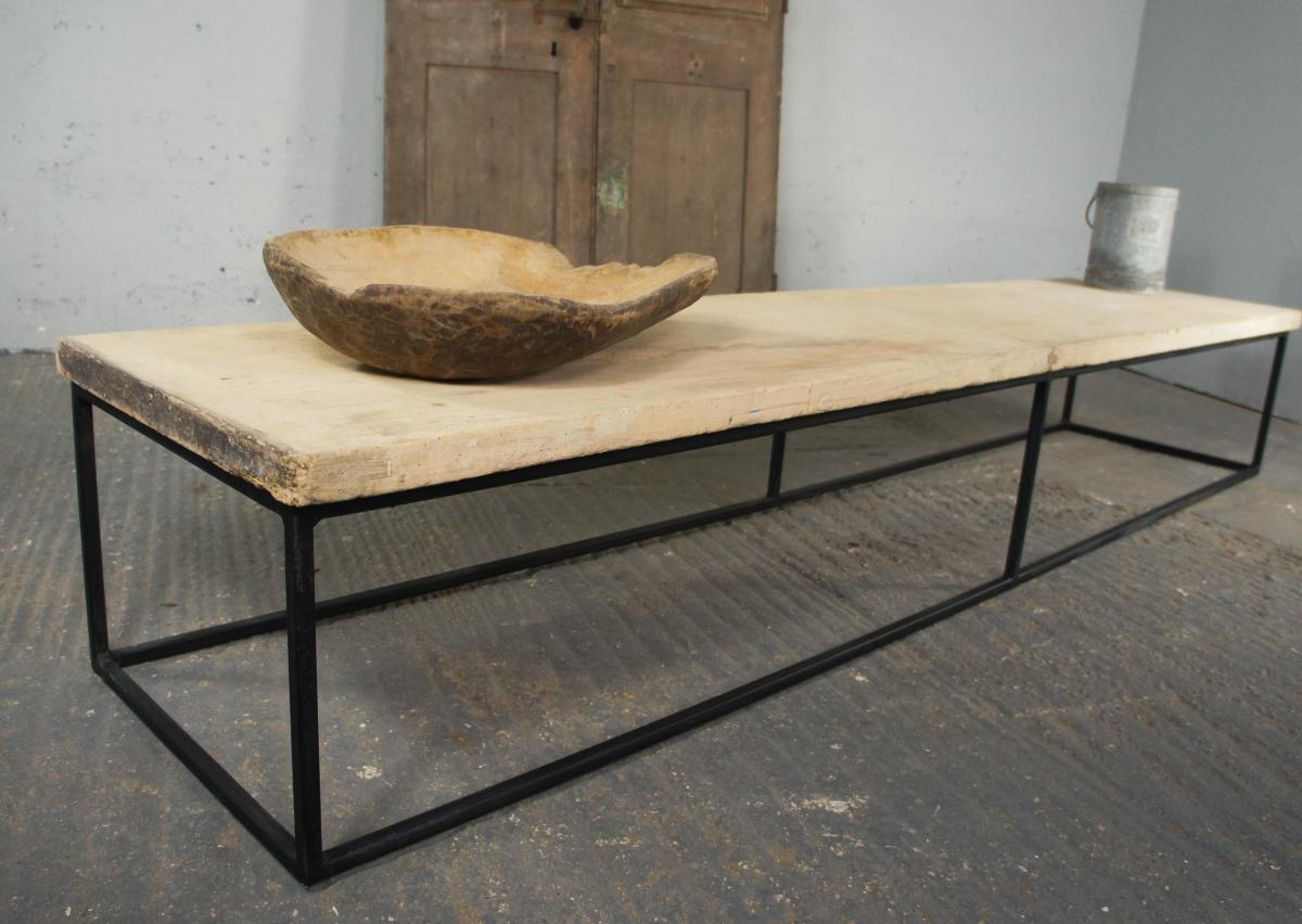 Century Sycamore Top on Bespoke Metal Frame Coffee Table